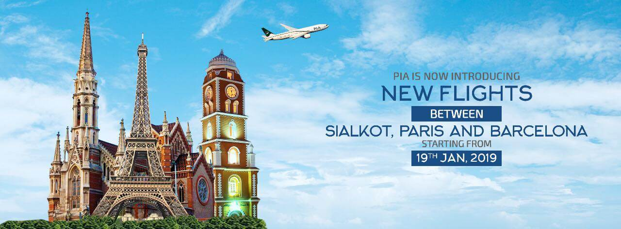 PIA Flights from Sialkot Paris Barcelona